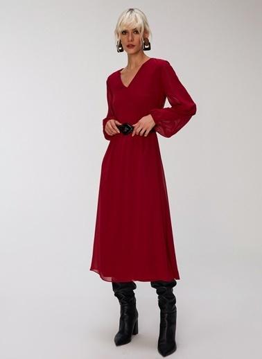 People By Fabrika V Yakalı Şifon Elbise Bordo